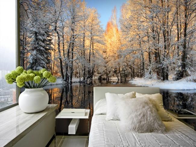 skog tapet vinter snö fototapet skog naturtapet sovrum fondvägg