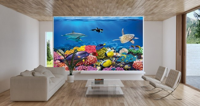 snygg motivtapet vardagsrum akvarium fiskar fototapet 3d fondvägg