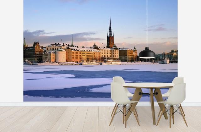 tapet stockholm vinter fototapet stad fondvägg