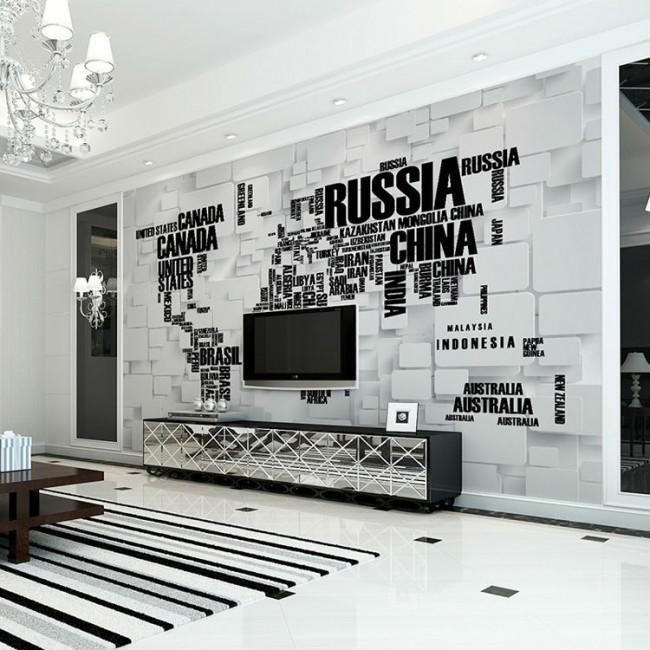 världskarta tapet namn länder fototapet svart vit fondtapet vardagsrum