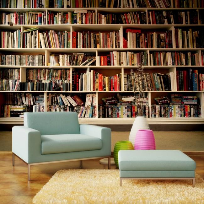 bokhylla tapeter vardagsrum fototapet böcker fondvägg bokryggar