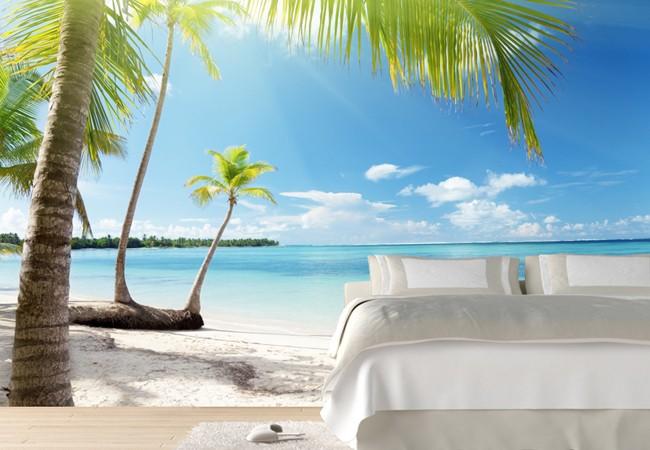 sovrumstapet inspiration bilder tapet sovrum tropisk strand hav fototapet