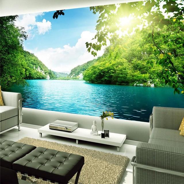 natur tapet sjö landskap fototapet vardagsrum