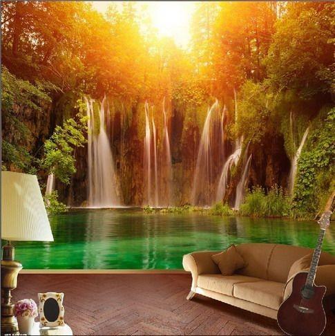 vattenfall tapet solnedgång fototapet natur landskap fondtapet vardagsrum