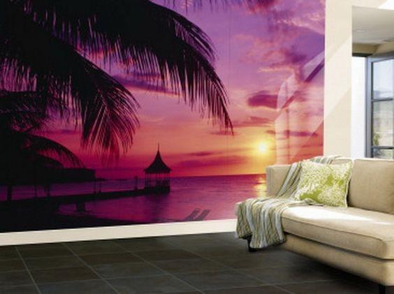 billig tapet solnedgång lila tapet vardagsrum tjejtapet tropisk fototapet