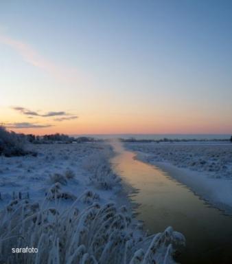 Holmsån flyter långsamt söderut i morgonkylan