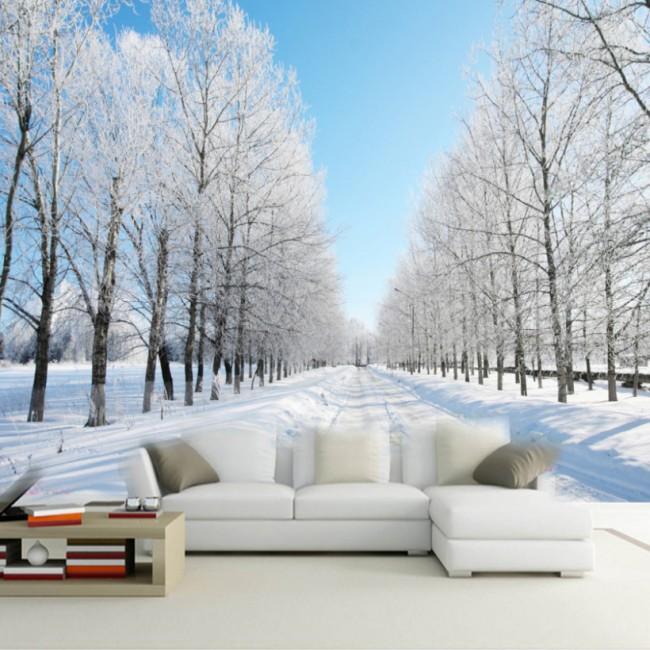 landskap tapet vinter snö träd fototapet vardagsrum