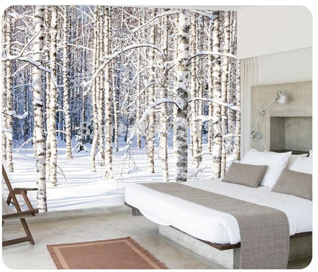 3d tapet skog träd björk stammar snö vinterlandskap