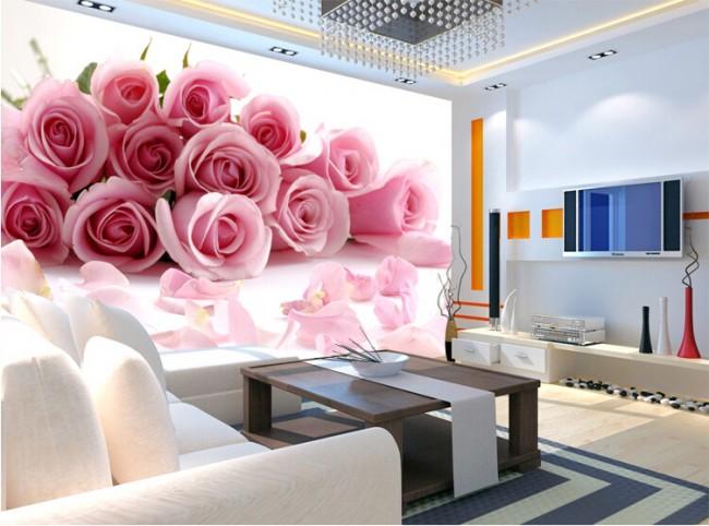 romantisk tapet rosa rosor fototapet