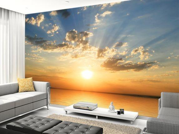 tapet solnedgång hav moln fototapet natur fondvägg vardagsrum