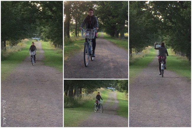 Lyckliga jag cyklar i min kära allé i Degernäs, Degerfors.