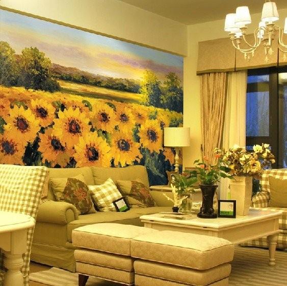 snygg fototapet solrosor blommor vardagsrum landskap gula