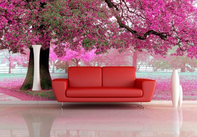 romantisk tapet rosa fototapet träd