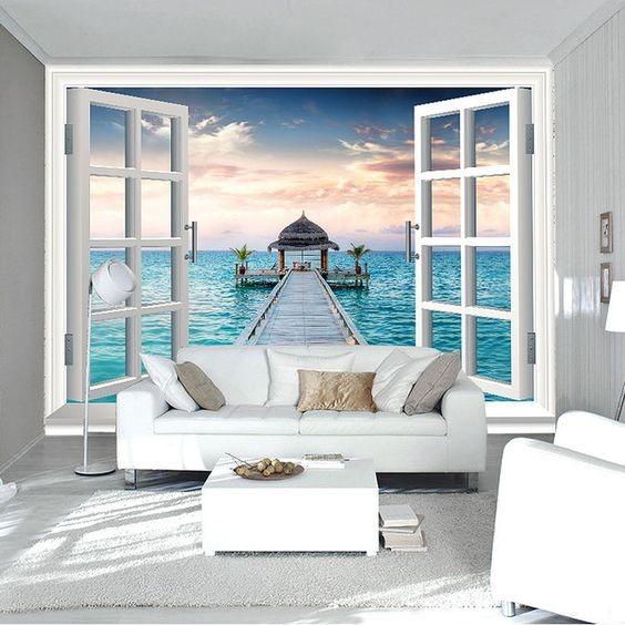 romantisk tapet tropisk fototapet fönster