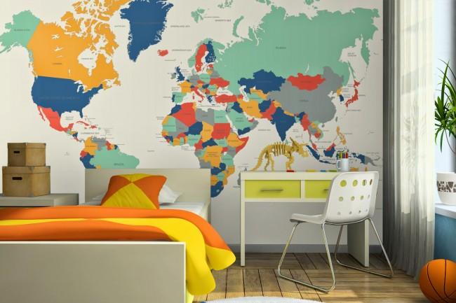 Världskarta Tapet ungdomsrum killrum fototapet karta