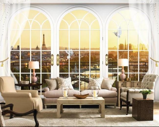 tapet romantisk fototapet paris fönster utsikt fondtapet vardagsrum
