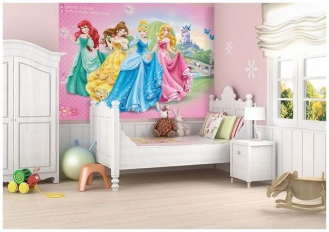 Fototapet barn Prinsessor rosa Barnrumstapeter Tjejrum Flick Tapet