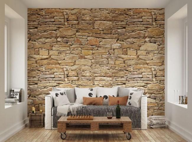 stentapet vardagsrum fondvägg fototapet stenvägg