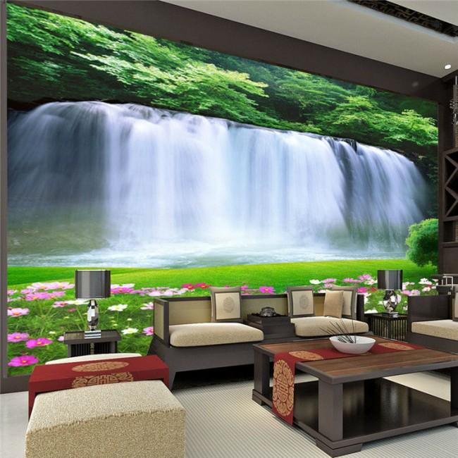 vattenfall tapet landskap fototapet natur fondtapet vardagsrum