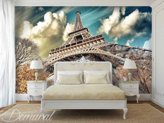 paris tapet eiffeltornet under i från fototapet stad romantisk fondtapet