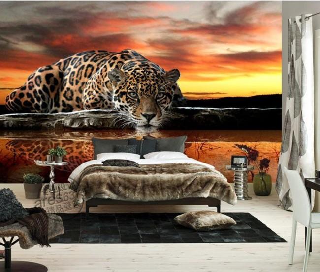 tapet djur jaguar fototapet kattdjur sovrumstapet