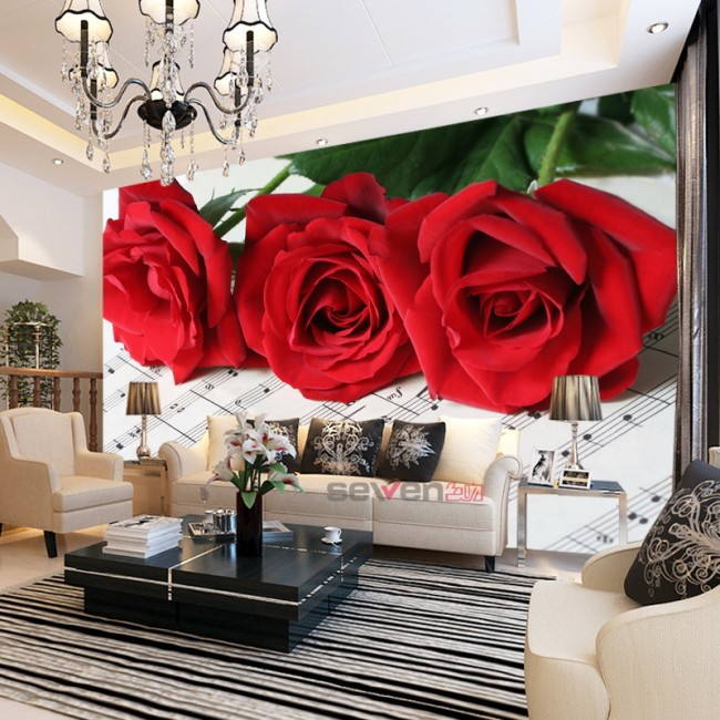 tapet blommig röda rosor 3d fototapet vardagsrum blommor