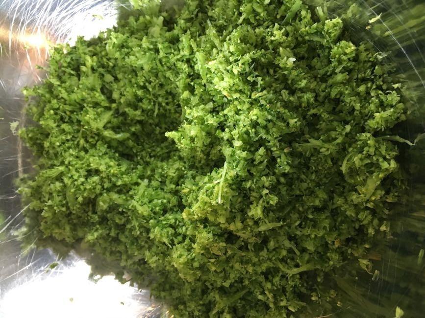 Mixad rå broccoli, grönkålskvistar och persilja
