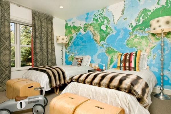världskarta tapet barnrum barntapet fototapet