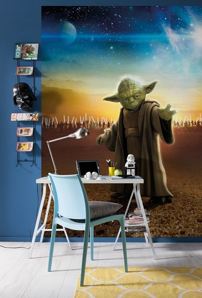 star wars tapet yoda fototapet barnrum barnrums tapet
