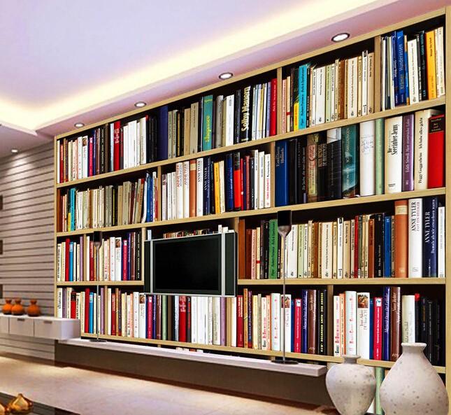 bokhylla tapet vardagsrum bokryggar fototapet böcker