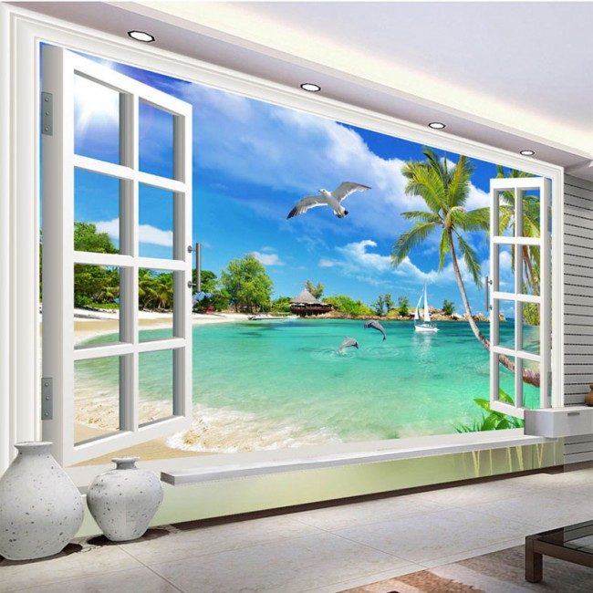 tapet strand hav fototapet fönster utsikt fåglar palmer