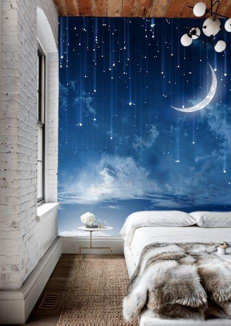 tapet sovrum inspiration sovrumstapeter bilder stjärnhimmel