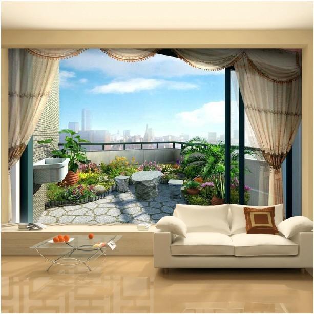 balkong utaplats utsikt tapet vardagsrum
