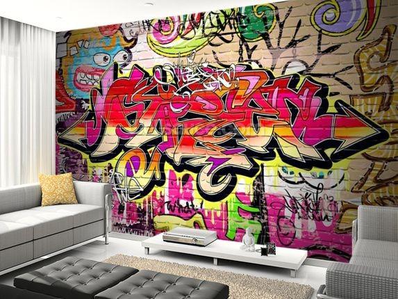 Graffiti tapet Graffiti tegelvägg tegelmur röd tjejtapet ungdomstapet tjejrum