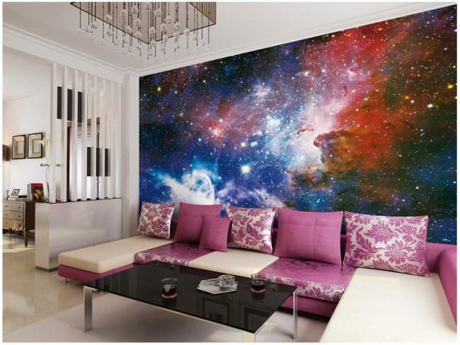 rymd tapet cosmos fototapet space stjärnor häftig fondtapet vardagsrum