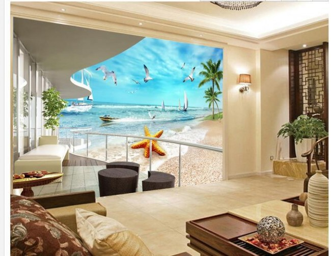 3d tapet vardagsrum utsikt hav strand palmer