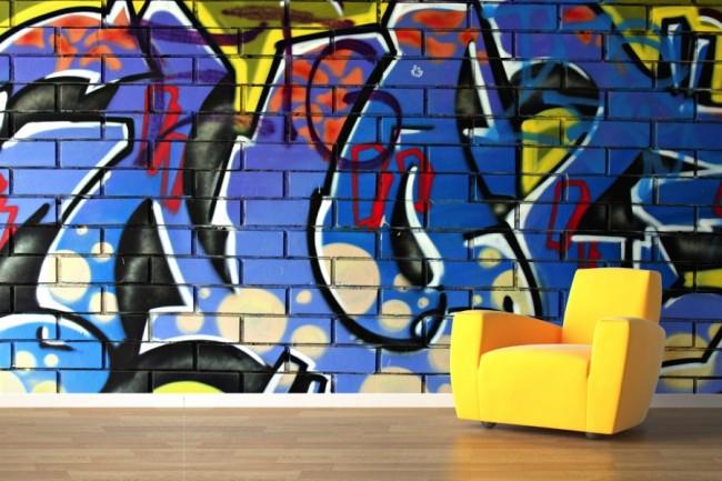 Graffiti tapet Graffiti Blå Tegel Mur Tegel vägg