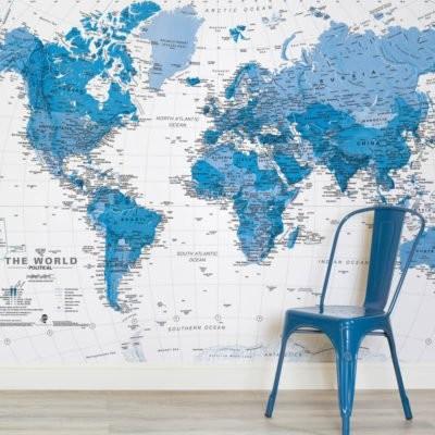 världskarta tapet blå fototapet fondvägg