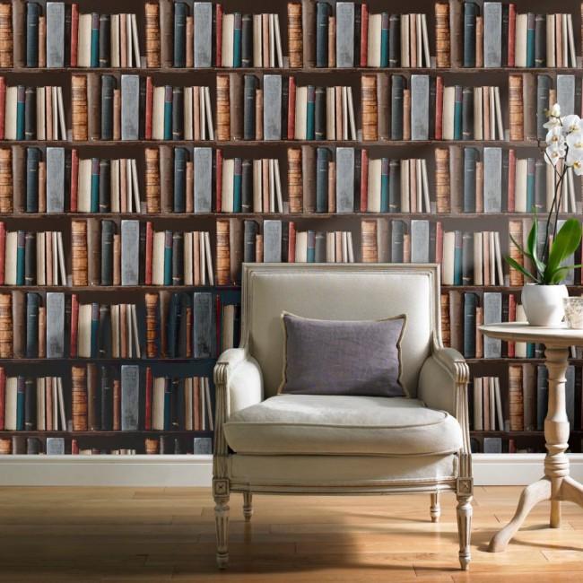 tapet ser ut som bokhylla fototapet bokhyllatapet böcker boktapet fondtapet bokryggar