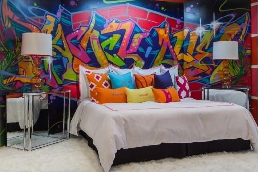 Graffiti tapet sovrum häftig fototapet