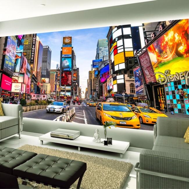New York tapet Manhattan Fototapet Times Square Taxi Vardagsrum