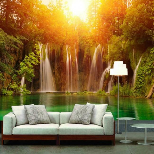 vardagsrum tapet solnedgång tropisk vattenfall skog fototapet