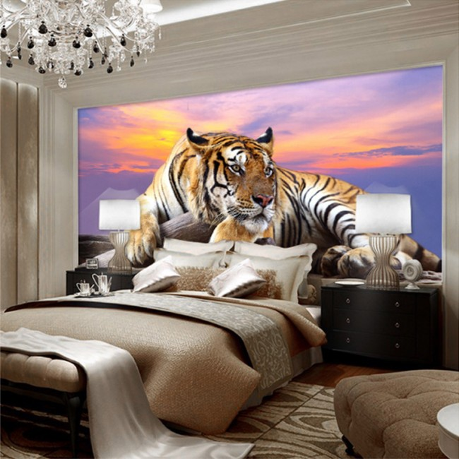 djur tapet tiger fototapet kattdjur sovrumstapet