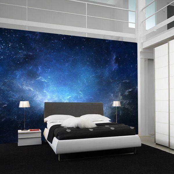 rymd tapet space stjärnhimmel blå fototapet sovrum fondtapet