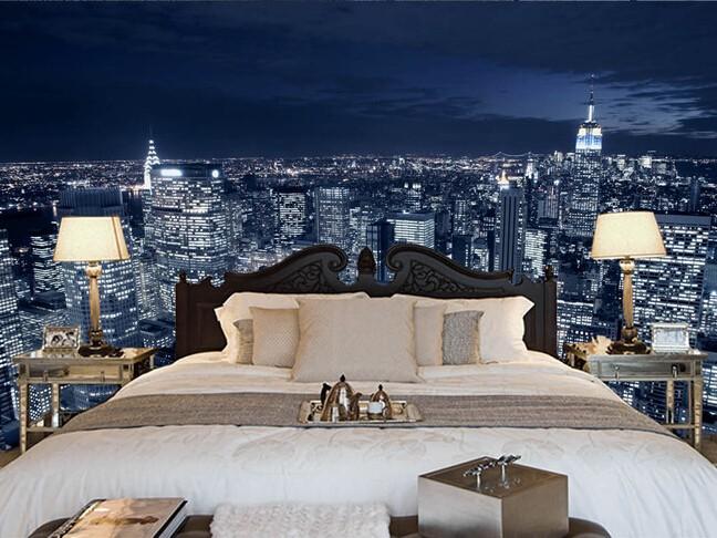 Fototapet New York tapet sovrum natt sovrumstapet stad