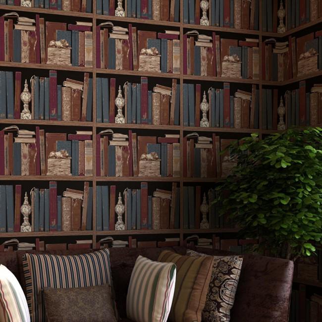 bokhylla tapet fototapet böcker bokryggar fondvägg