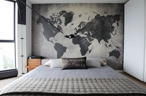 världskarta tapet sovrum snygg inspiration fototapet