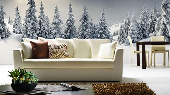 skogstapet gran vardagsrum snö vinterlandskap