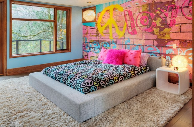 ungdomstapet fototapet ungdomsrum tjejtapet graffiti rosa tegelvägg love