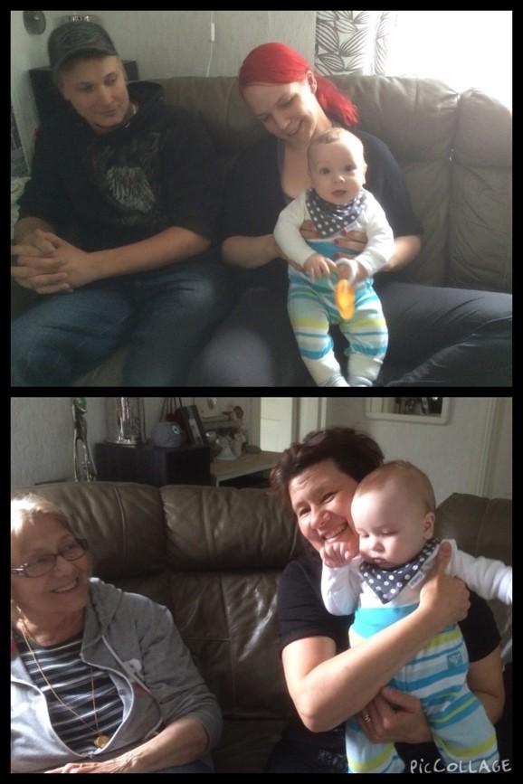 Kimmo o Tiina med lilla Luka. Mummu och Helena med lilla Luka
